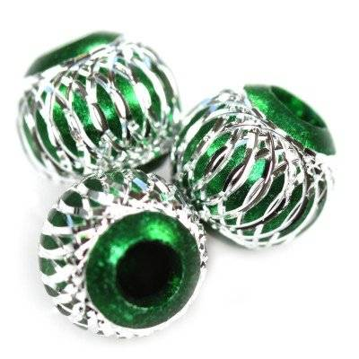 round aluminium beads emerald 10 mm
