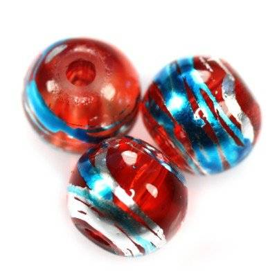 glass beads cosmic red with blue 8 mm