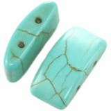 turquoise half ovals 11 x 22 mm / semi-precious stone synthetic