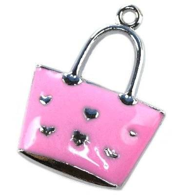 charms pendants pink bag 24 x 17 mm