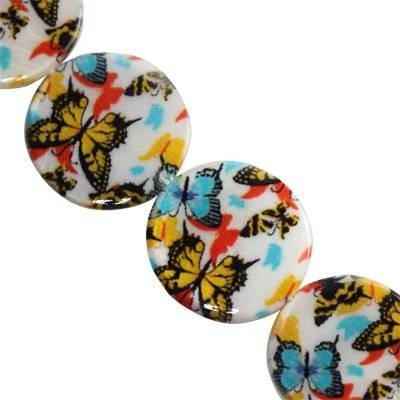 mother of pearl coin butterflies 25 mm