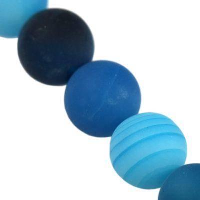 Achat Matte Steinperlen blue 6 mm / Halbedelstein