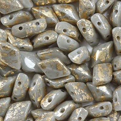 GemDuo beads gray opaque 8 x 5 mm