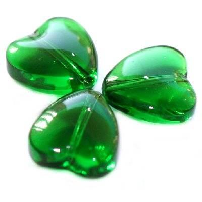 serca zielone 8 mm / koraliki szklane