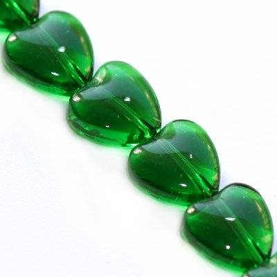 glass beads heart green 8 mm