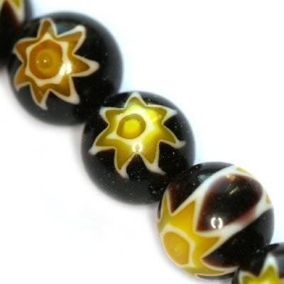 Schwarze Perlen Millefioriglas Blume 10 mm