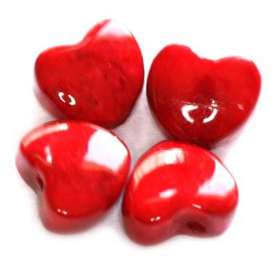 marble hearts dyed red 6 mm / natural stone dyed