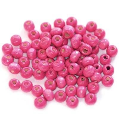 kule drewniane różowe 5 x 6 mm