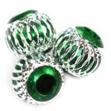 round aluminium beads emerald 12 mm