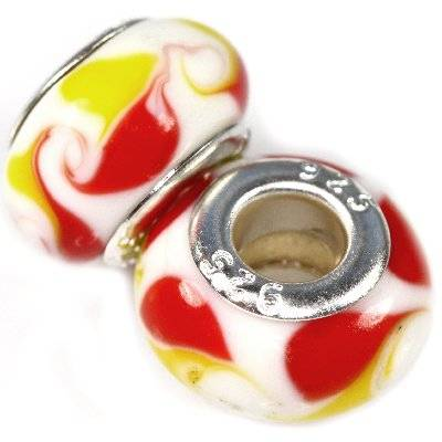 modular beads peacock eyes white with lemon and red 9 x 14 mm