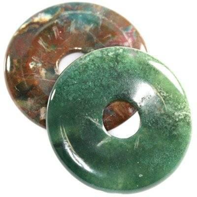 pendentifs ronds agate mousse 40 mm