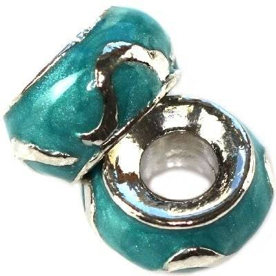 modular beads turquoise flames classic 7 x 12 mm