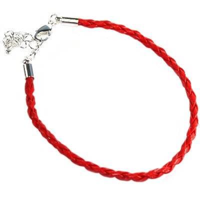 modular bracelet woven red leather 19 cm