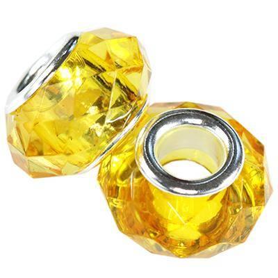 modular beads acrylic yellow 9 x 15 mm