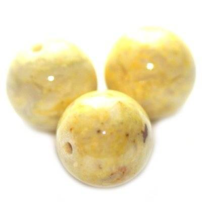 marble beads dyed yellow 10 mm / natural stone dyed