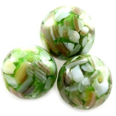 round beads mother of pearl green 10 mm