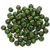 koraliki drewniane kule ciemno-zielone 5 x 6 mm