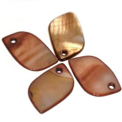 hangers parlemoer blaadjes bruin 12 x 21 mm
