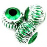 round aluminium beads emerald 14 mm