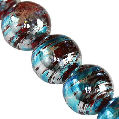glass beads cosmic red with blue 12 mm