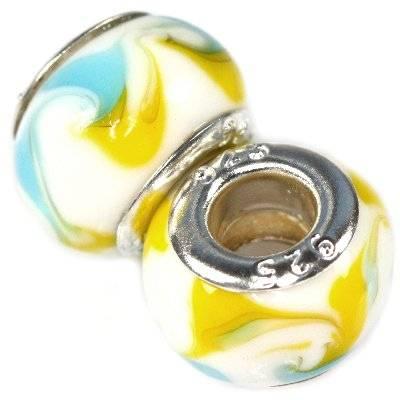 modular beads peacock eyes white with lemon and azure 9 x 14 mm