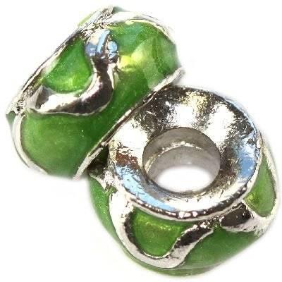 perline modulari allo smeraldo fiamme classiche 7 x 12 mm