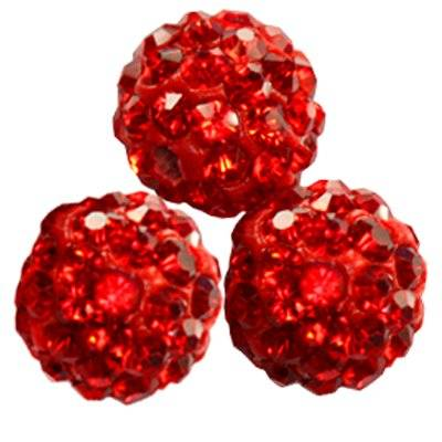 perles rouges fimo boules caramballa cristaux 10 mm