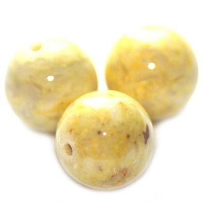marble beads dyed yellow 12 mm / natural stone dyed