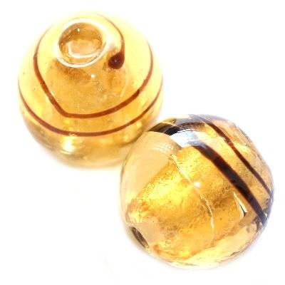 lampwork beads gold 12 mm