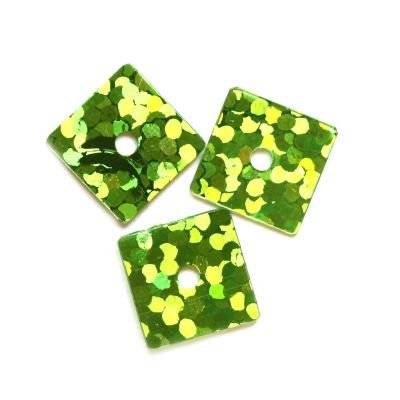sequins laser squares green 7 x 7 mm