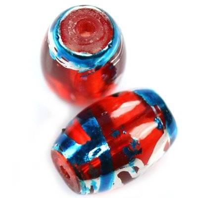 γυάλινες χάντρες οβάλ κοσμική κόκκινο με μπλε 10 x 14 mm