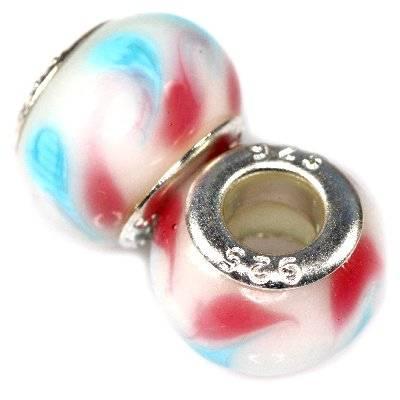 perles modulaires oeils de paon blancs azurés et framboise 9 x 14 mm