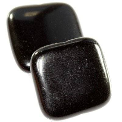 black onyx squares 20 x 20 mm / semi-precious stone synthetic