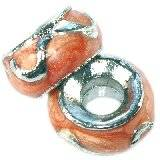 Modulperlen aprikosenfarbene Flammen klassisch 7 x 12 mm