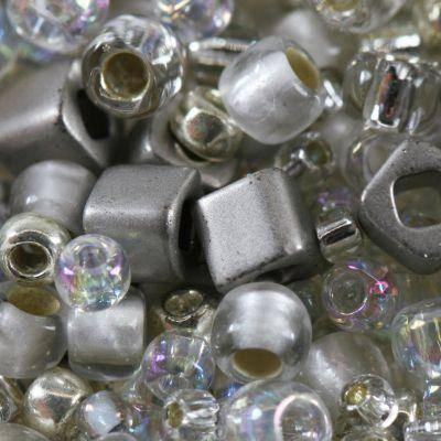 perline Toho mix junpaku- crystal/silver mix TX-01-3201