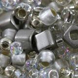 koraliki Toho mix junpaku- crystal/silver mix TX-01-3201