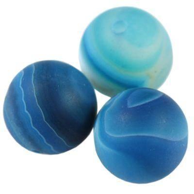 agate beads mat blue 12 mm / semi-precious stone