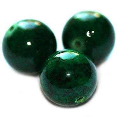 round beads marble dyed green 6 mm