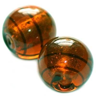 lampwork beads smoked topaz 12 mm