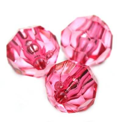 plastic faceted round beads pink 8 mm