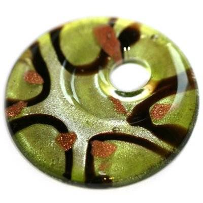 lampwork beads pendants circles green spots 42 x 42 mm