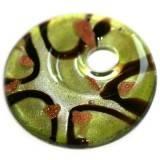 Perles de verre pendentifs cercles taches vertes 42 x 42 mm