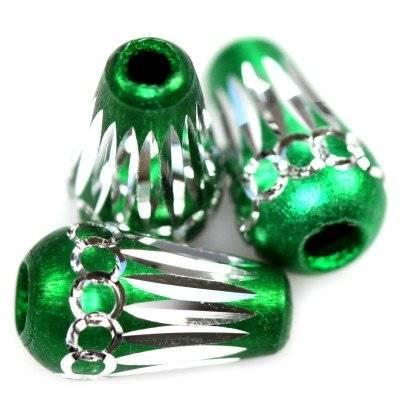 drops aluminium beads emerald 8 x 15 mm