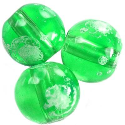 perles de verre Galactic menthe transparent 14 mm