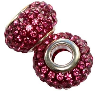 perles modulaires caramballa cristaux amarante 14 mm