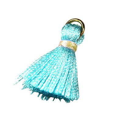 tassels aqua 21 mm metal ring