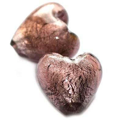 perles de verre améthyste coeur 20 mm