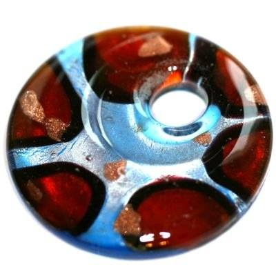 lampwork beads pendants circles red spots 42 x 42 mm