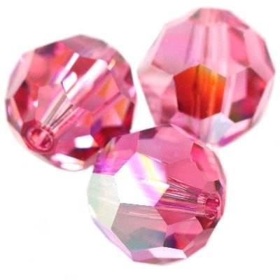 Swarovski round beads rose ab 6 mm