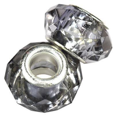 perles modulaires acryliques graphite 9 x 15 mm